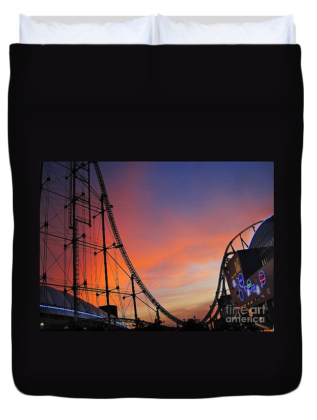 Amusement Park Duvet Cover featuring the photograph Sunset Over Roller Coaster by Eena Bo