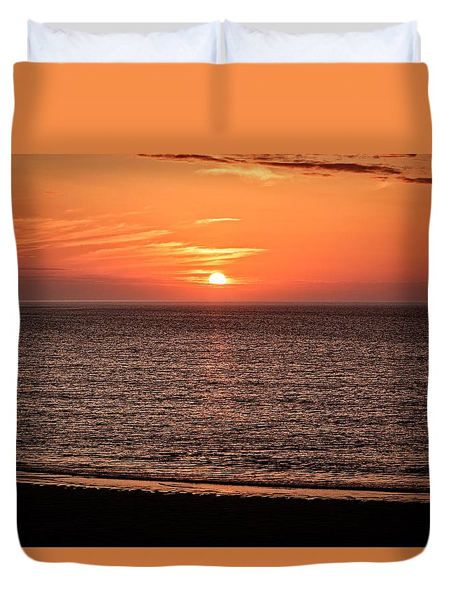Cornwall Duvet Cover featuring the photograph Sunset Over St. Ives Bay by Michael Greaves