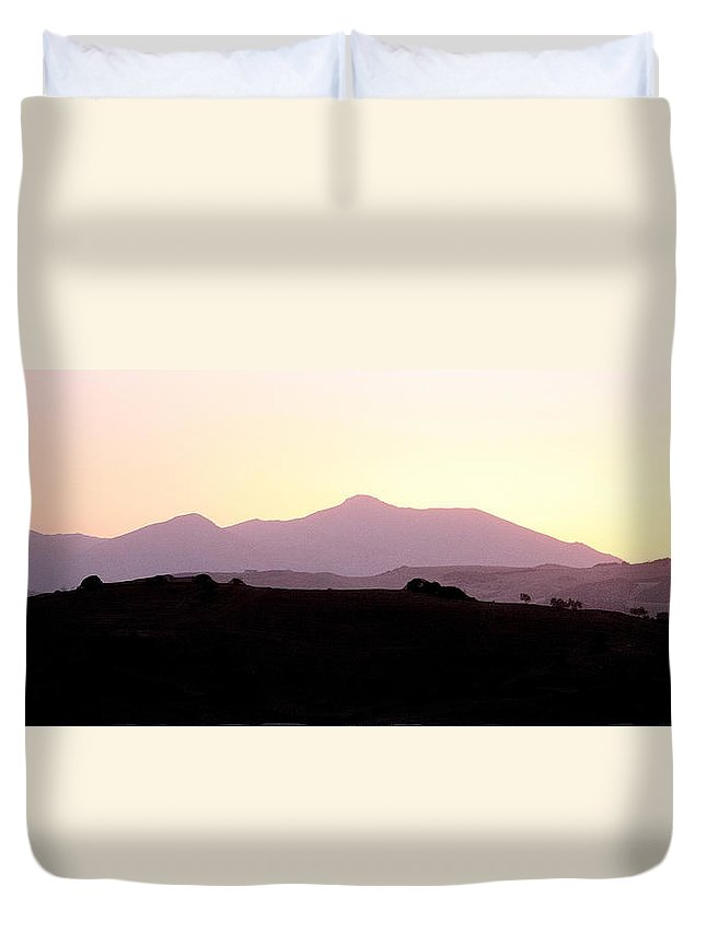 Spain Duvet Cover featuring the photograph Sunset Over The Andalucian Mountains Near Villanueva De La Concepcion by Mal Bray