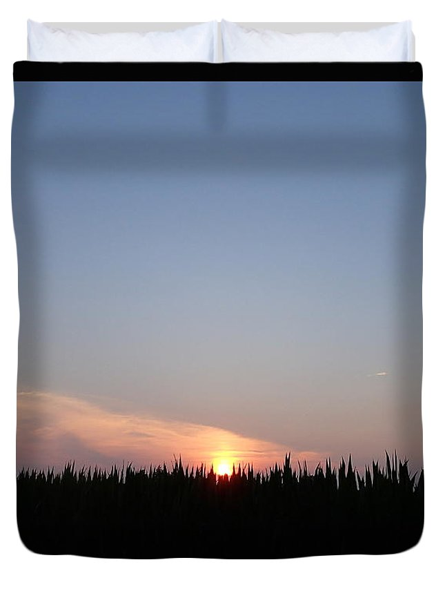 Nature Duvet Cover featuring the photograph Sunset Over The Cornfield by Robert Nickologianis
