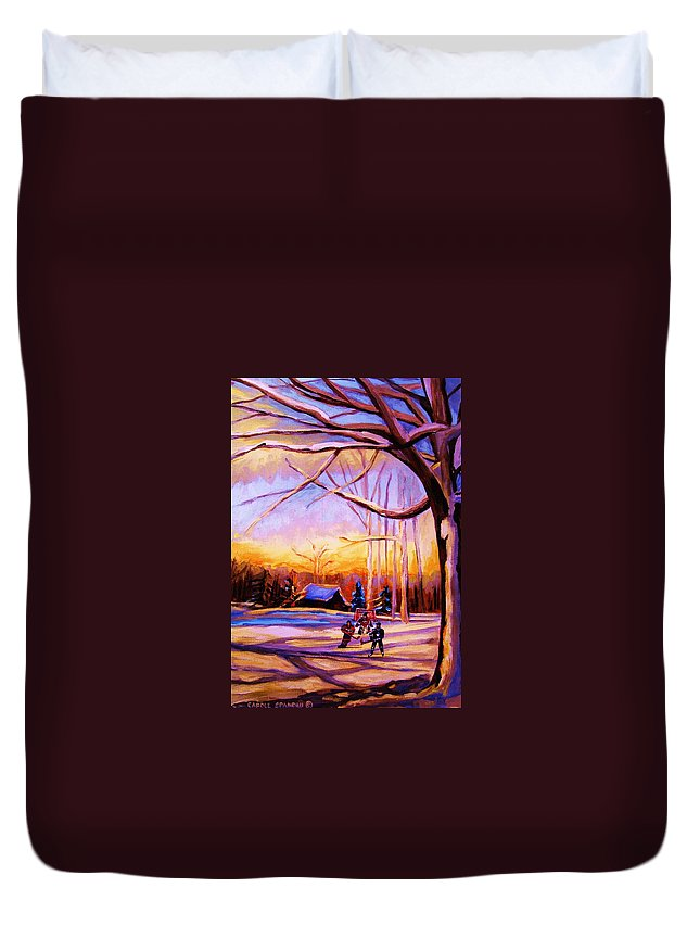 Sunset Over Hockey Duvet Cover featuring the painting Sunset Over The Hockey Game by Carole Spandau