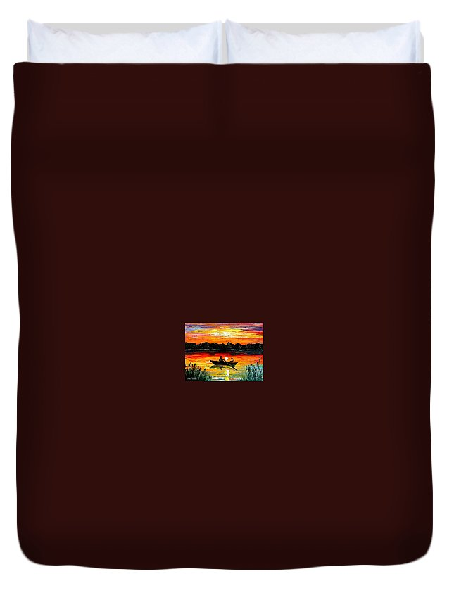 Boat Duvet Cover featuring the painting Sunset Over The Lake by Leonid Afremov