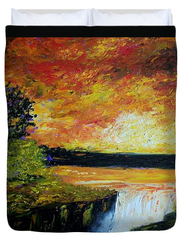 Sunset Duvet Cover featuring the painting Sunset Over The Lake by Tami Booher