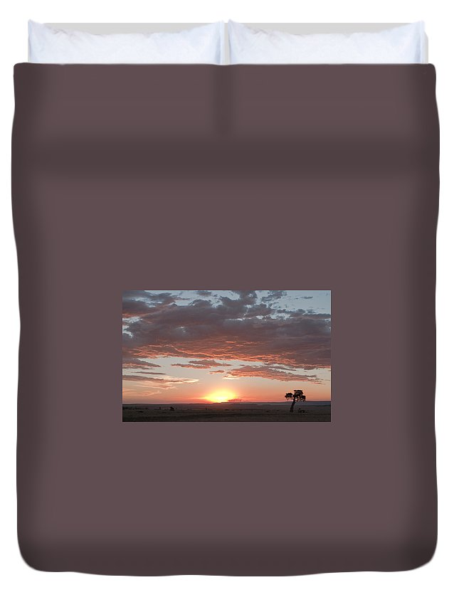 Africa Duvet Cover featuring the photograph Sunset Over The Mara by Colette Panaioti