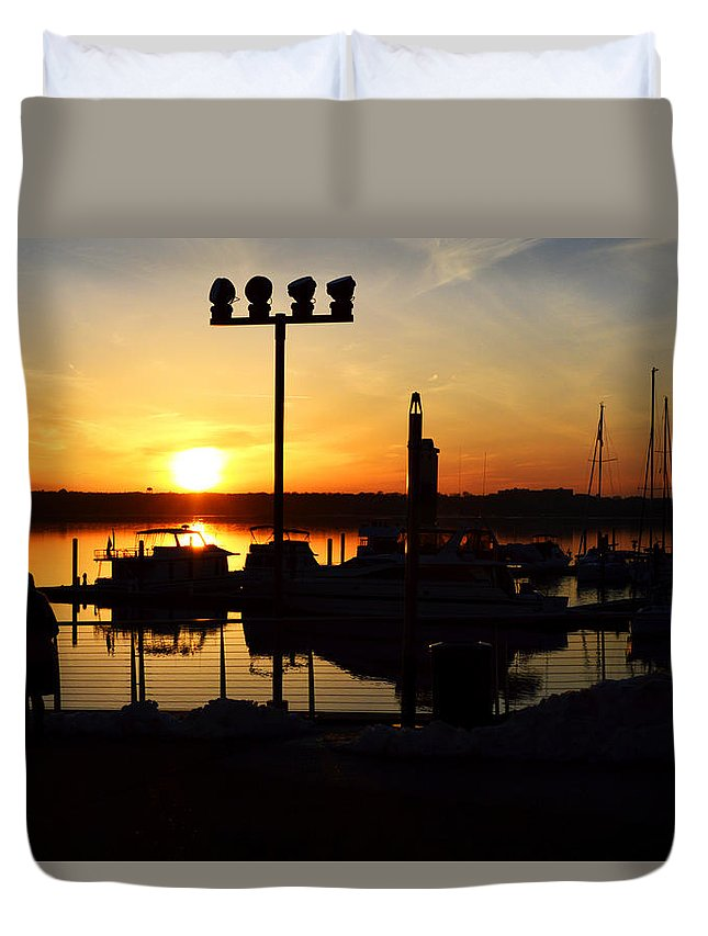 Sunset Duvet Cover featuring the photograph Sunset Over The River by Lindsey McDonald