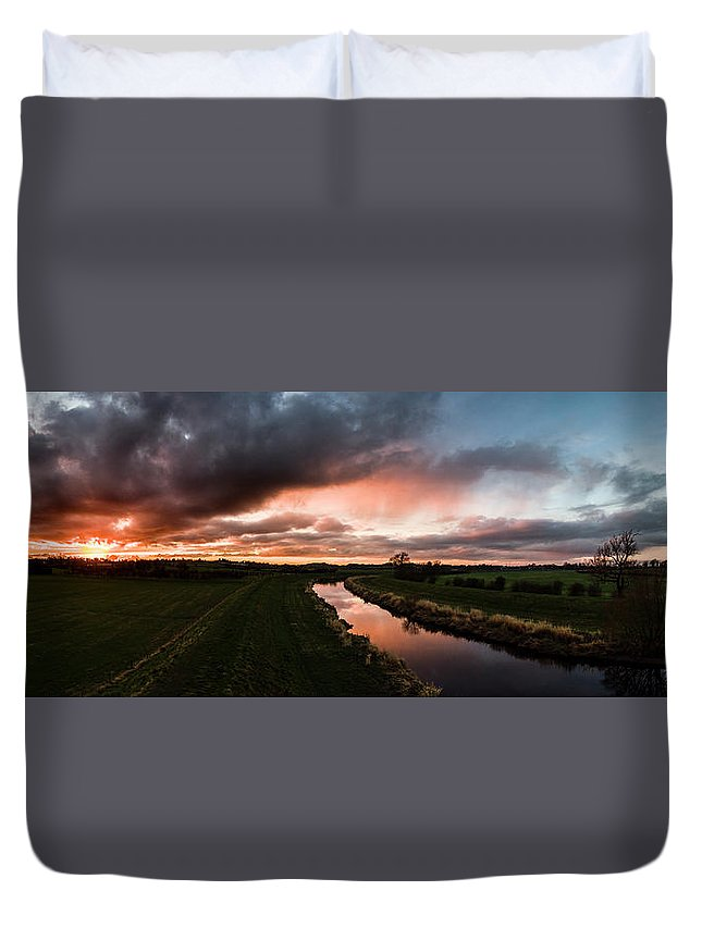 Drone Duvet Cover featuring the photograph Sunset Over The River Wyre by Russell Millner