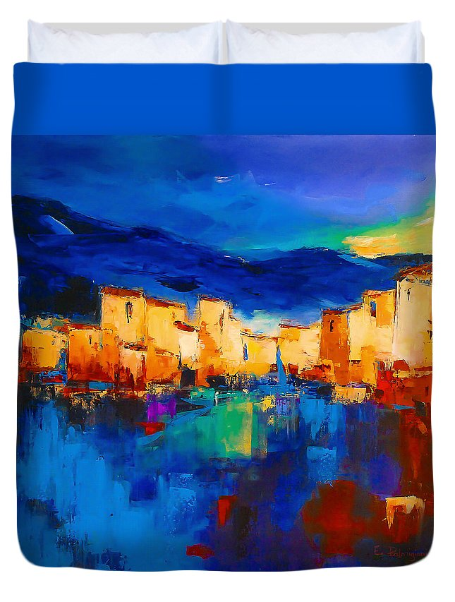 Cinque Terre Duvet Cover featuring the painting Sunset Over The Village by Elise Palmigiani