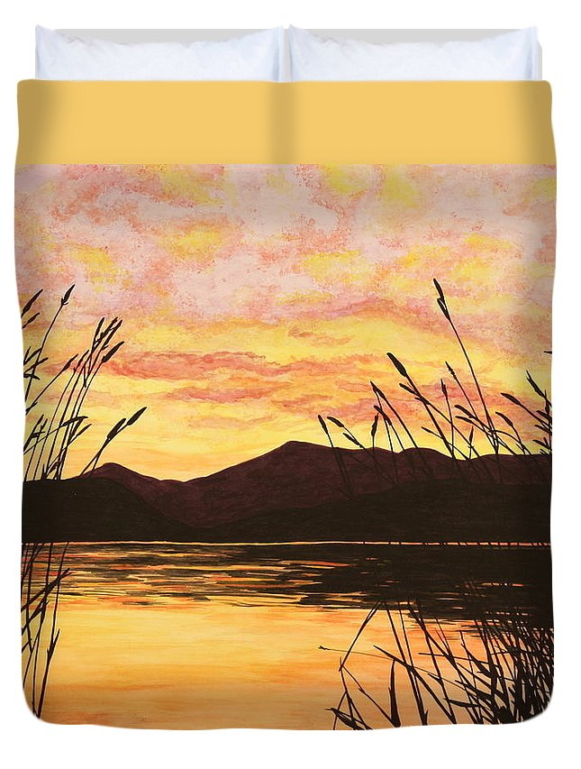 Sunset Duvet Cover featuring the painting Sunset Over The Water by Michelle Miron-Rebbe