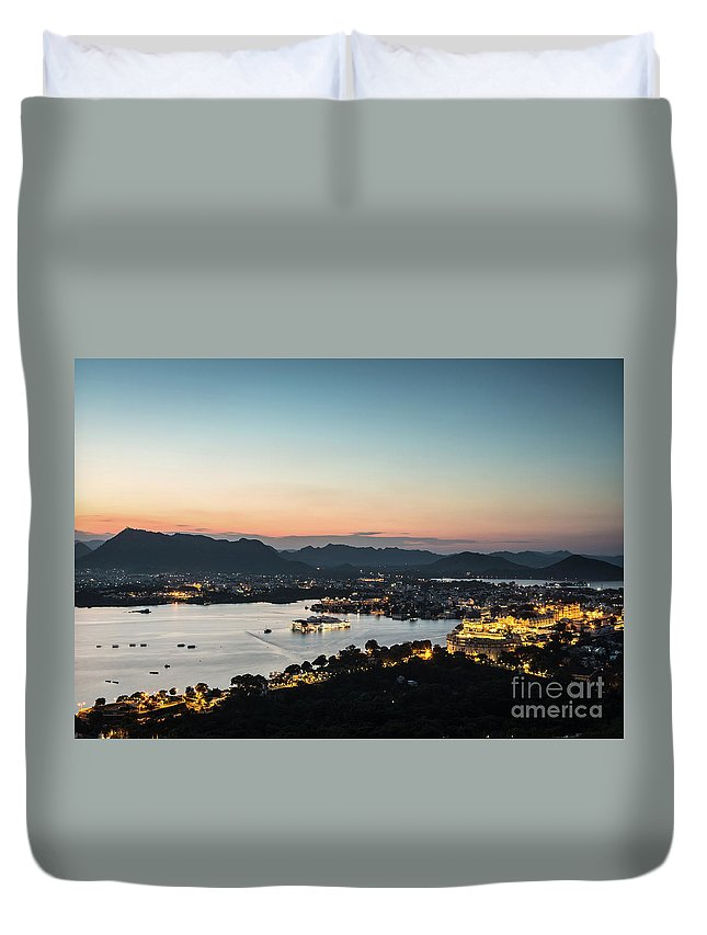 High Angle View Duvet Cover featuring the photograph Sunset Over Udaipur In India by Didier Marti