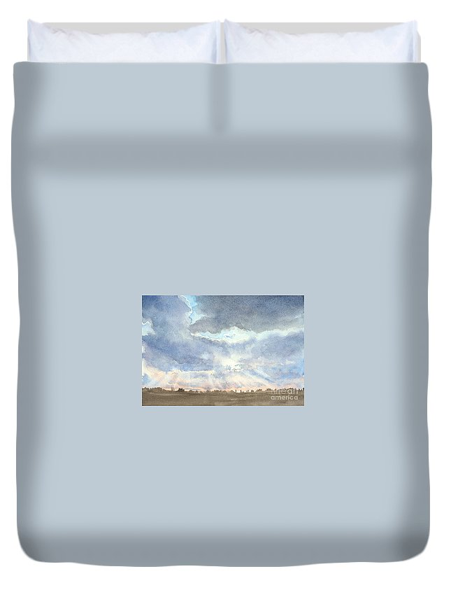 Landscape Duvet Cover featuring the painting Sunset Over Wharton County by Karen Boudreaux