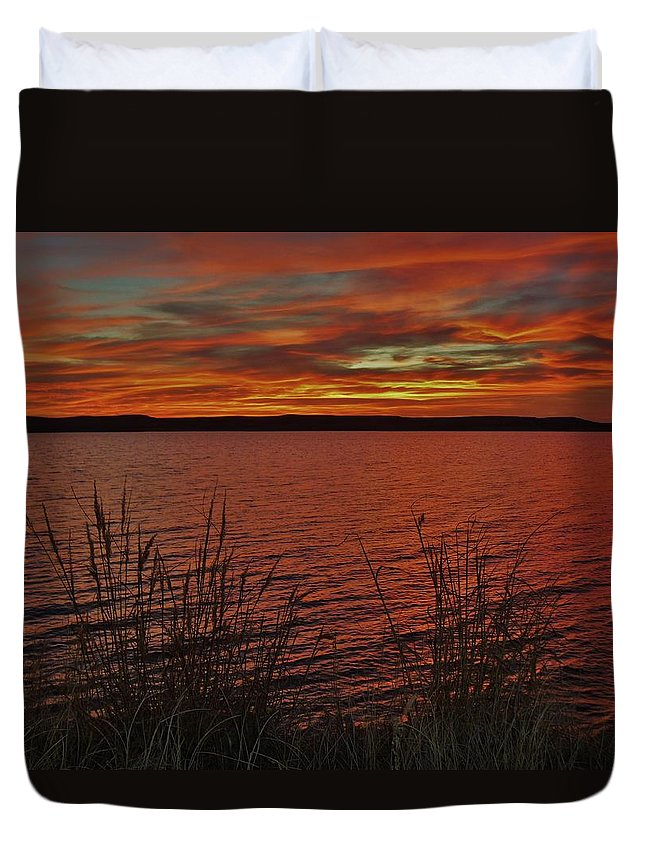 Sunset Duvet Cover featuring the photograph Sunset Over Wilson Lake, Ks by Greg Rud