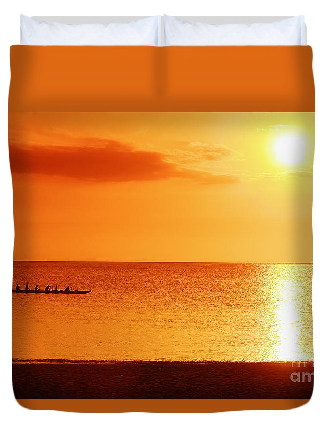 Boat Duvet Cover featuring the photograph Sunset Paddle by Vince Cavataio - Printscapes