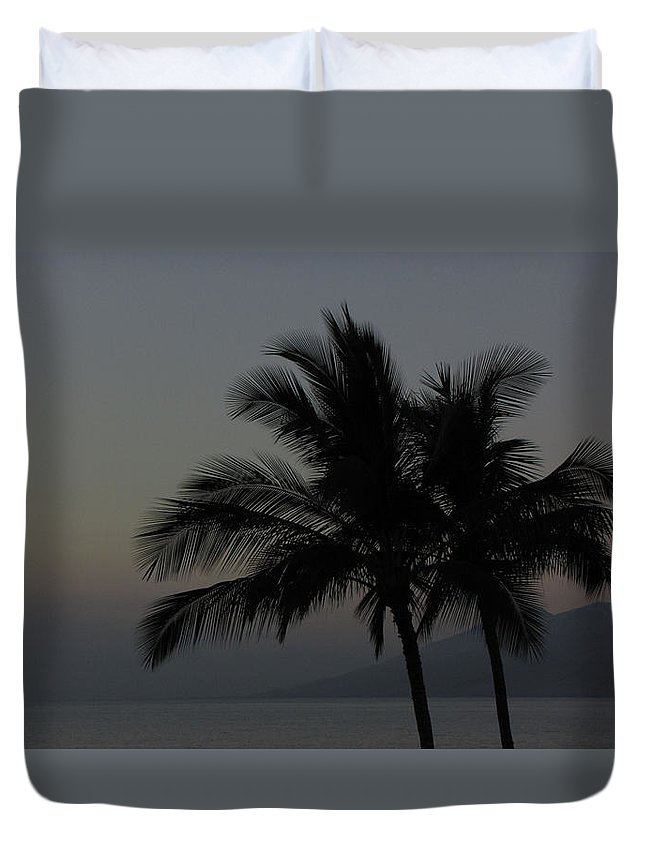 Sunset Duvet Cover featuring the photograph Sunset Palm by Sarah Houser