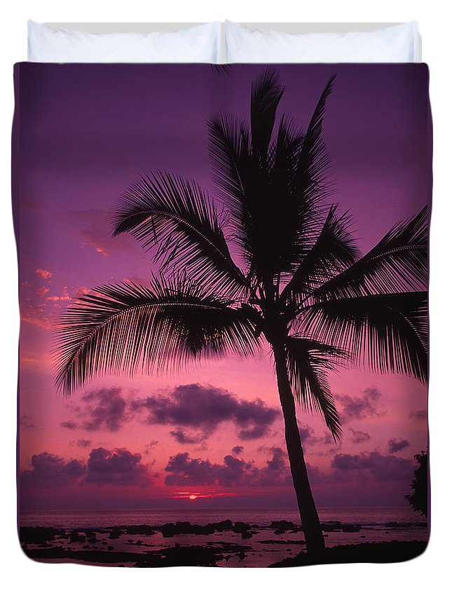 Bright Duvet Cover featuring the photograph Sunset Palms by Ron Dahlquist - Printscapes