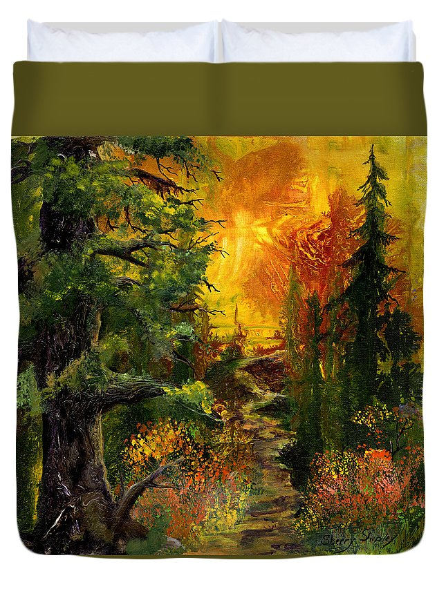 Sunset Duvet Cover featuring the painting Sunset Path by Sherry Shipley