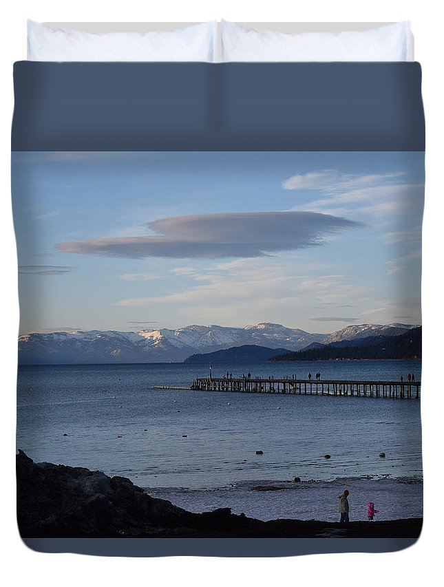South Tahoe Duvet Cover featuring the mixed media Sunset Pier by Christina McNee-Geiger