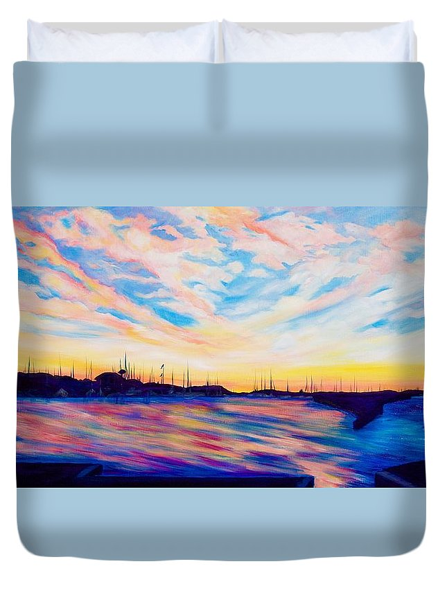 Sunset Point Duvet Cover featuring the painting Sunset Point by Debi Starr