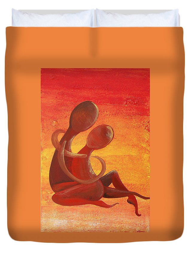 Acrylic On Canvas Duvet Cover featuring the painting Sunset Rainbow Soul Collection by Catt Kyriacou