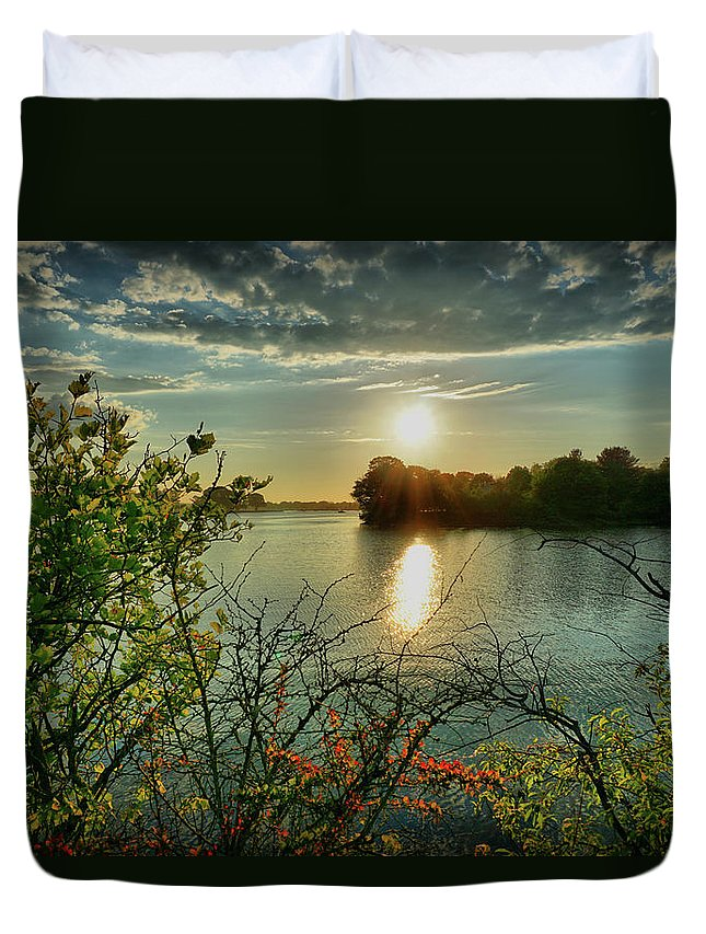 Sunset Duvet Cover featuring the digital art Sunset Reflection by Lilia D