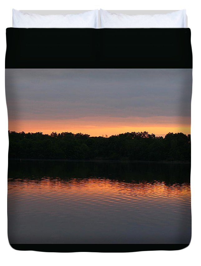 Beautiful Sunset Duvet Cover featuring the photograph Sunset reflections at dusk on lake. by Robert Carey