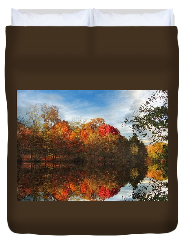 Autumn Duvet Cover featuring the photograph Sunset Reflections by Jessica Jenney