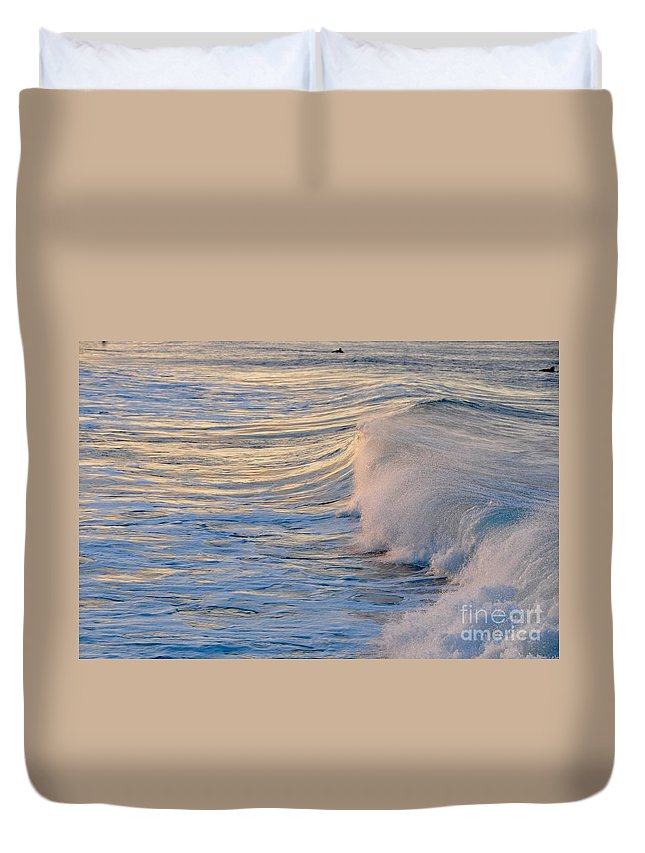 Gold Coast Duvet Cover featuring the photograph Sunset Ribbons by Csilla Florida