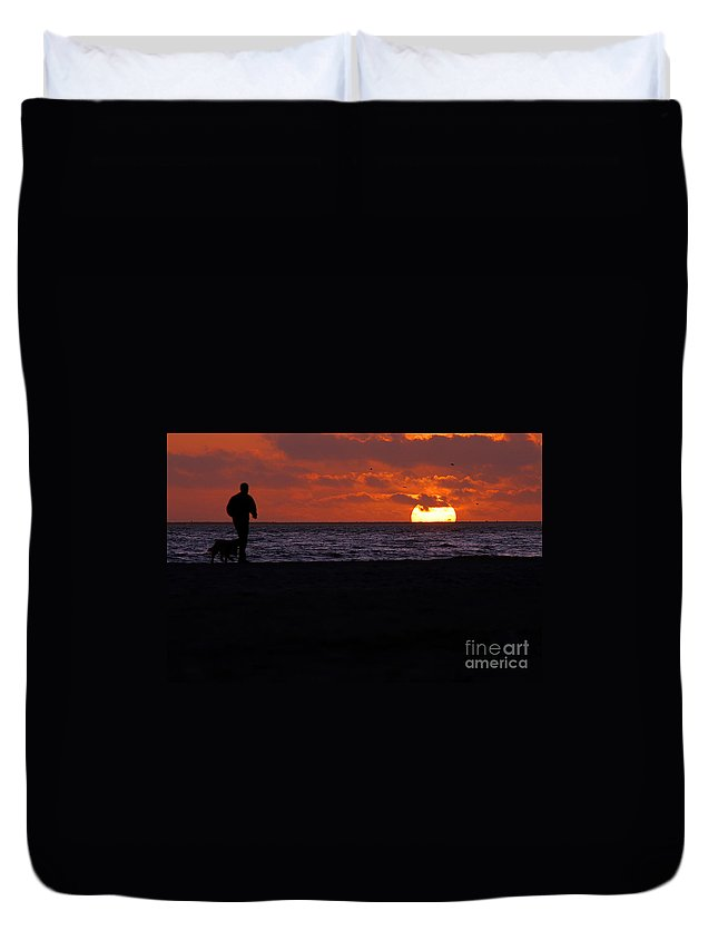 Clay Duvet Cover featuring the photograph Sunset Run by Clayton Bruster