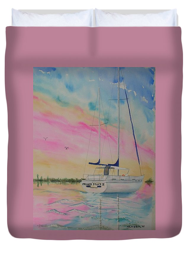 Sunset Sail 3 Duvet Cover featuring the painting Sunset Sail 3 by Warren Thompson