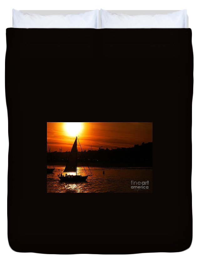 Clay Duvet Cover featuring the photograph Sunset Sailing by Clayton Bruster
