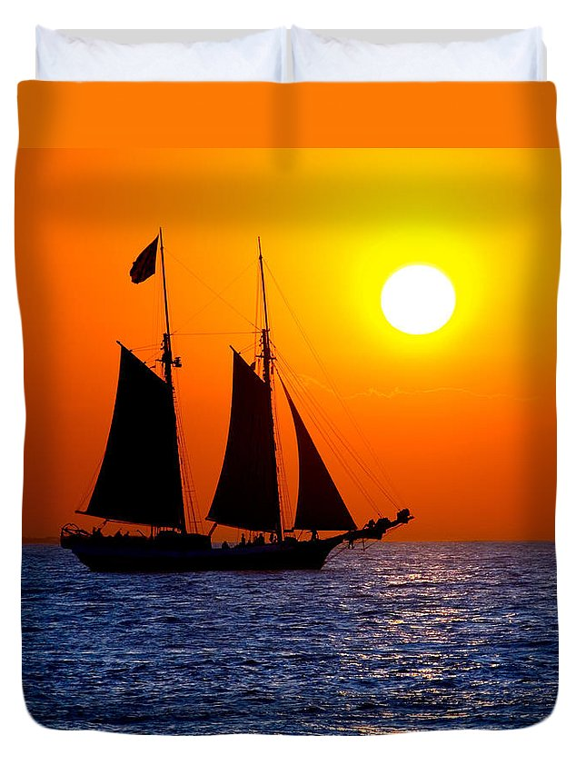 Yellow Duvet Cover featuring the photograph Sunset Sailing In Key West Florida by Michael Bessler
