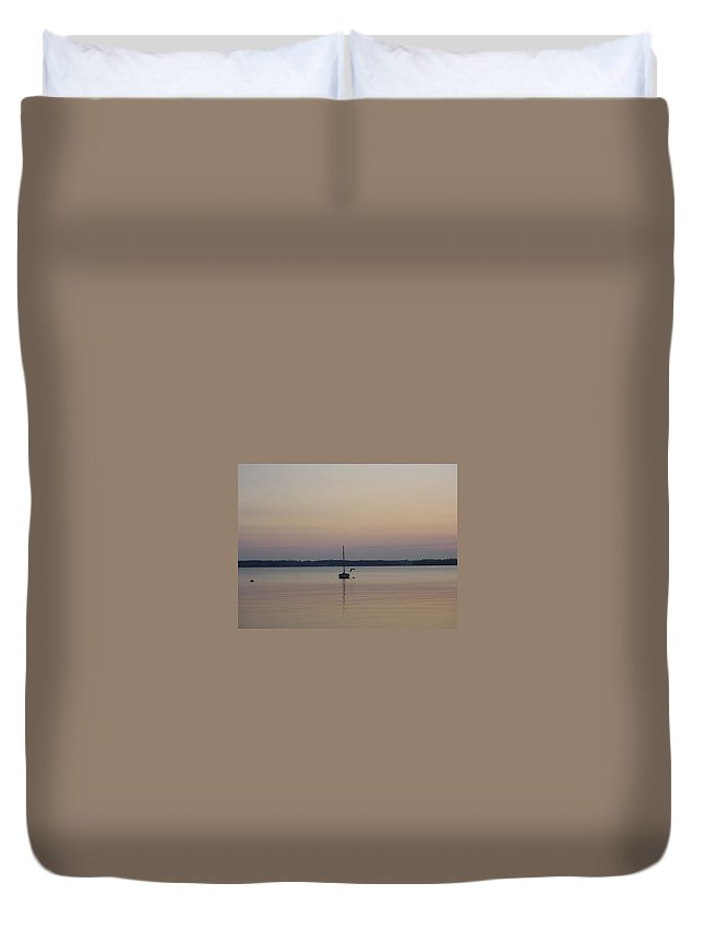 Maine Duvet Cover featuring the photograph Sunset Sailing by Kelly Mezzapelle