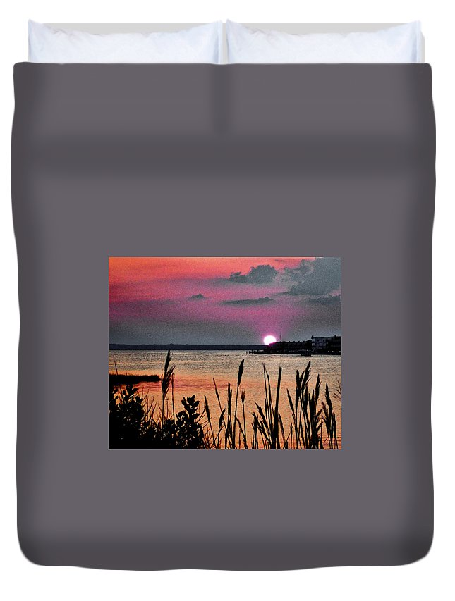 Ocean City Duvet Cover featuring the photograph Sunset Scene by Michael Forte