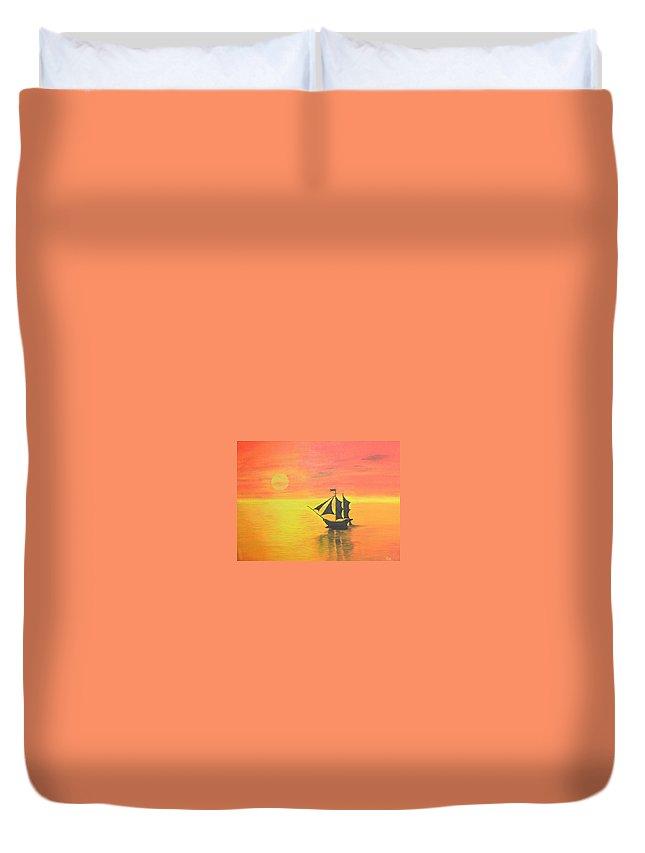 Sunrise Duvet Cover featuring the painting Sunrise Sea Ship Sss by Riya Rathore