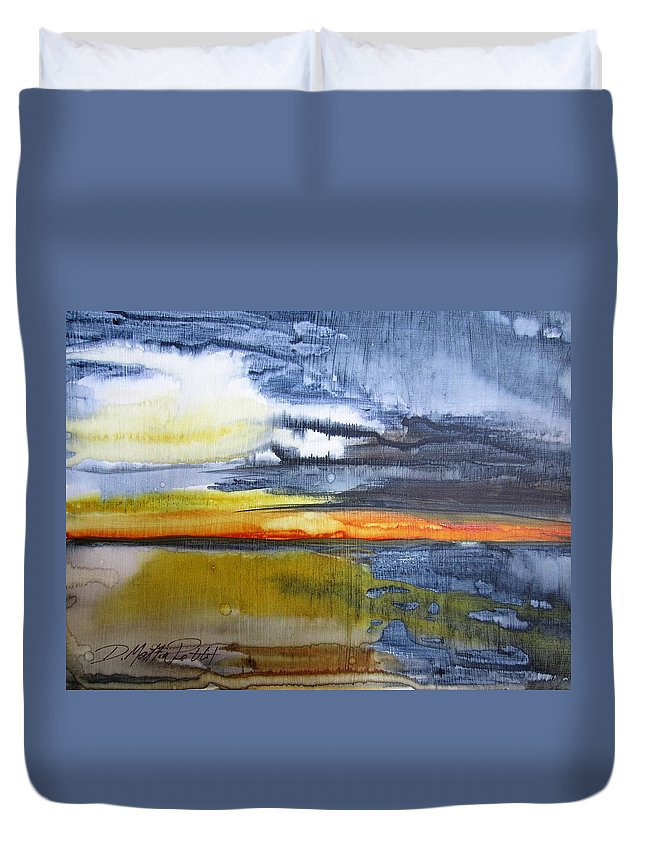 Sunset Duvet Cover featuring the painting Sunset Serenade by Dolores Pettit
