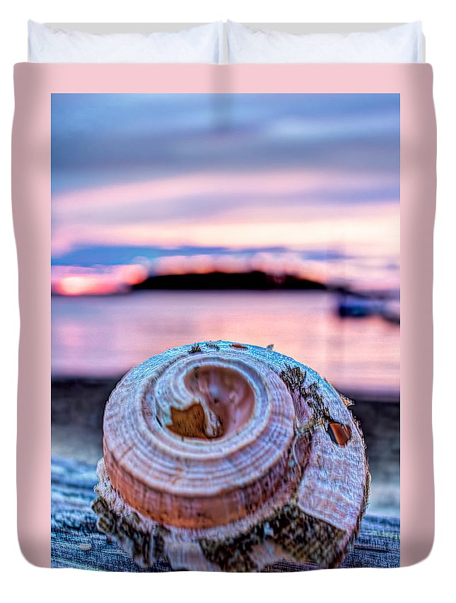 Cape Cod Duvet Cover featuring the photograph Sunset Shell by Leigh Grundy