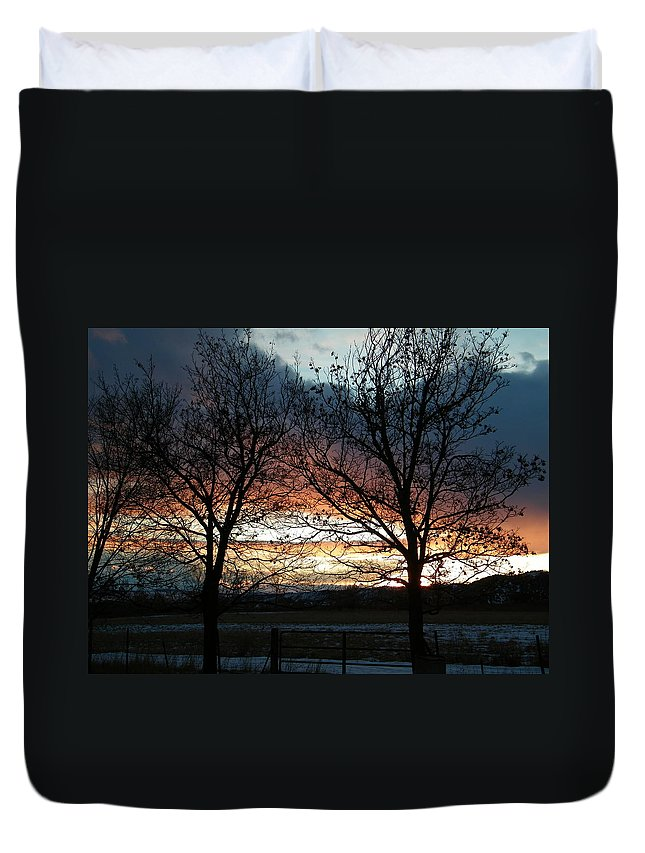 Sunset Duvet Cover featuring the photograph Sunset Silhouettes by Dale Jackson