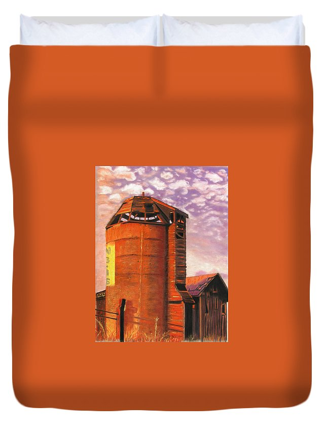 Americana Duvet Cover featuring the pastel Sunset Silo by Laura Gabel