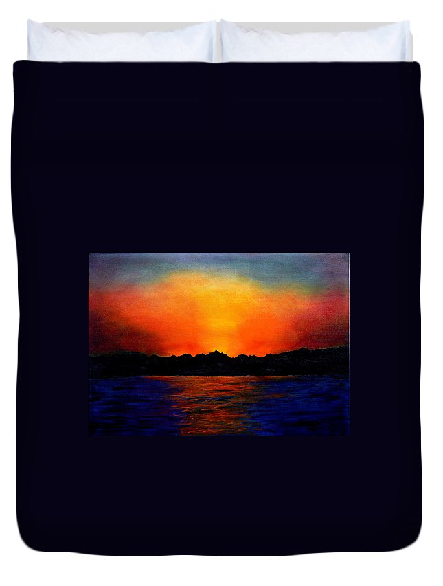 Sinai Sunset Duvet Cover featuring the painting Sunset Sinai by Helmut Rottler