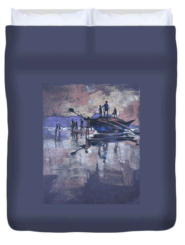 Beach Duvet Cover featuring the painting Sunset by Snehal Page