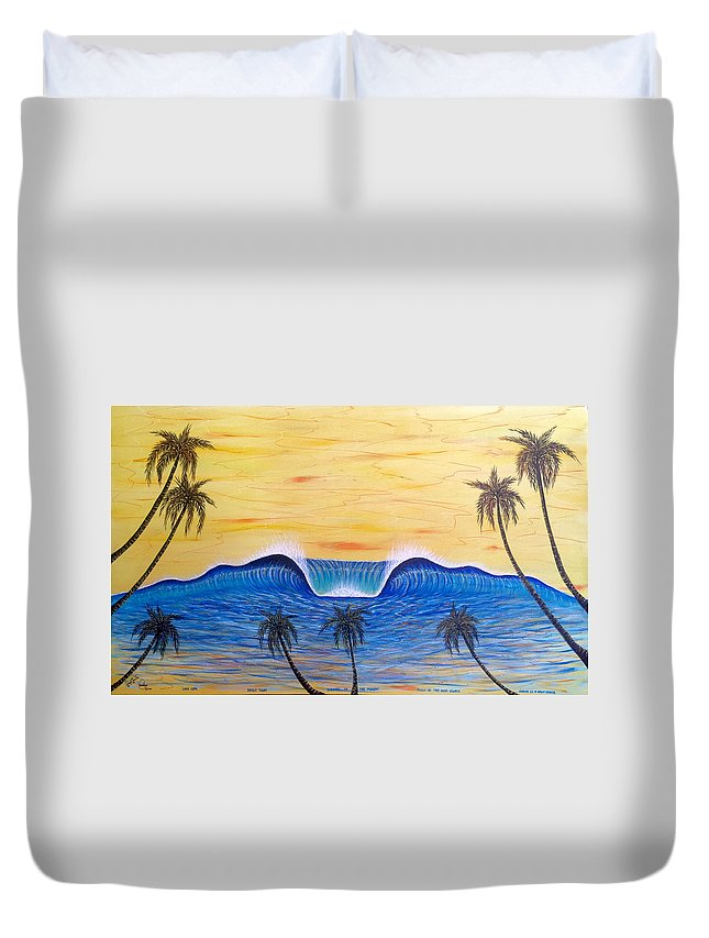 Abstractart Duvet Cover featuring the painting Sunset Surf Dream by Paul Carter