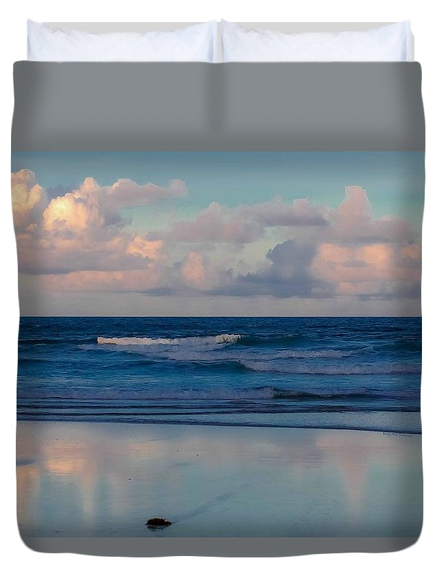 Ocean Duvet Cover featuring the digital art Sunset Tides by DigiArt Diaries by Vicky B Fuller