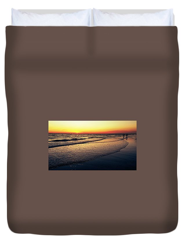 Duvet Cover featuring the digital art Sunset Time On Sunset Beach by Alfred Blaho