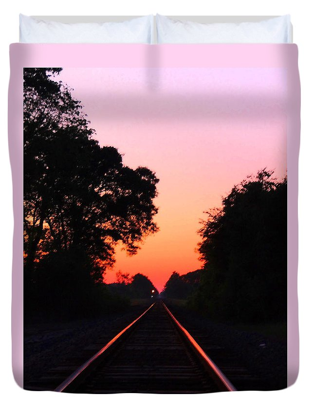 Sunset Duvet Cover featuring the photograph Sunset Track by Gina Welch
