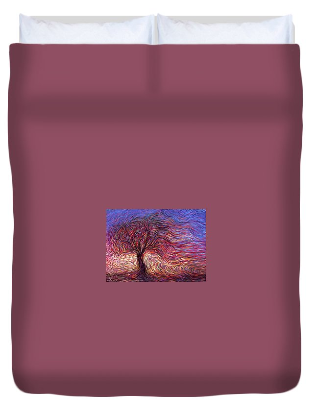 Tree Duvet Cover featuring the painting Sunset Tree by Hans Droog