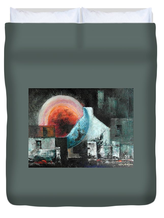 Duvet Cover featuring the painting Sunset by Val Byrne
