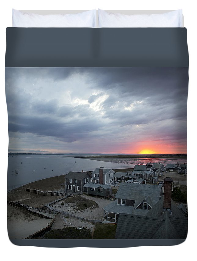 Sunset Duvet Cover featuring the photograph Sunset View From Sandy Neck Light by Charles Harden