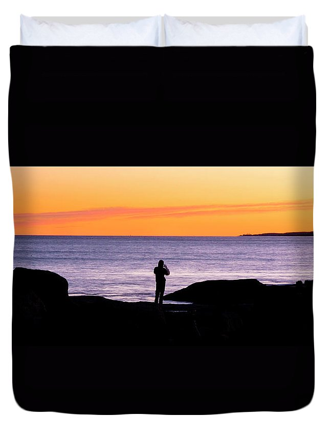 Sunset Duvet Cover featuring the photograph Sunset Watcher by Greg Fortier