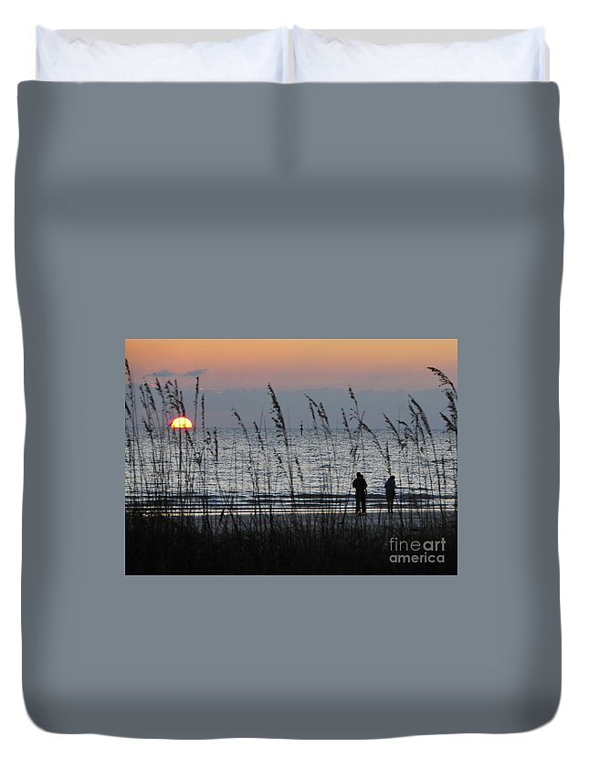 Sunset Duvet Cover featuring the photograph Sunset Watching by David Lee Thompson