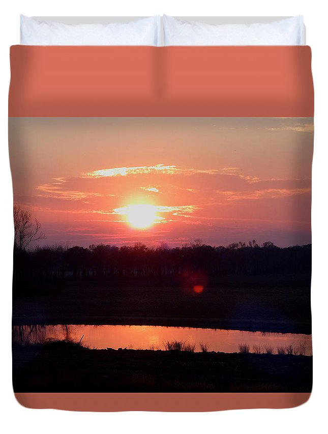 Sunset Duvet Cover featuring the photograph Sunset Waters by Gina Welch