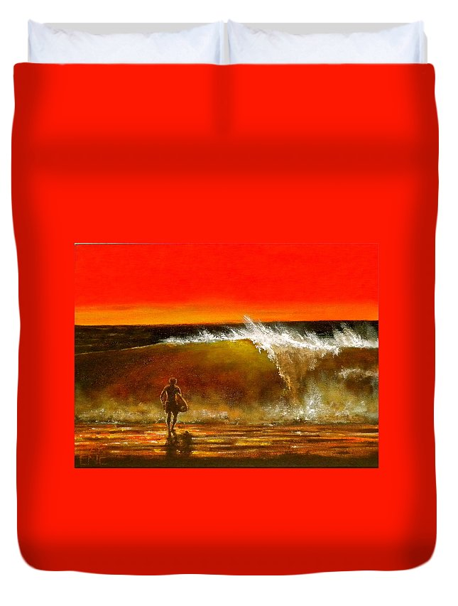 Deep Red Sunset Duvet Cover featuring the painting Sunset Wave by Marene Originals